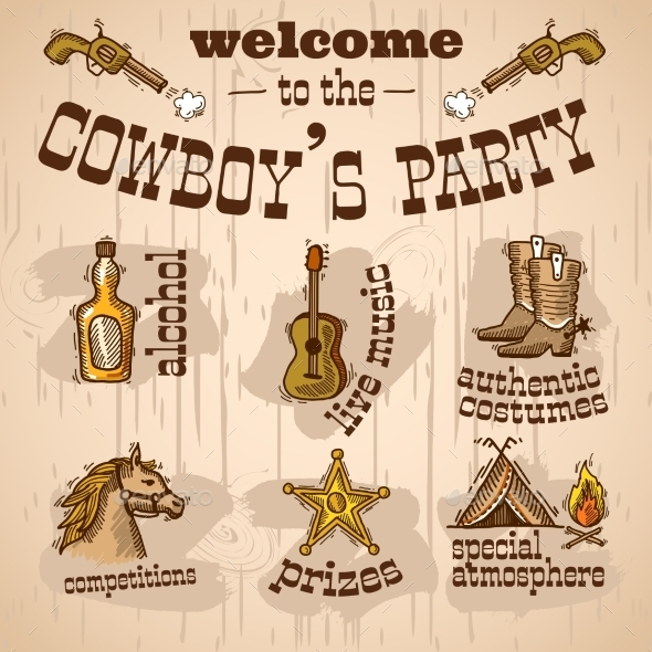 GraphicRiver Cowboy Party Set 9395389