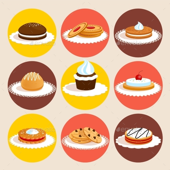 GraphicRiver Cookies Colored Set 9396093