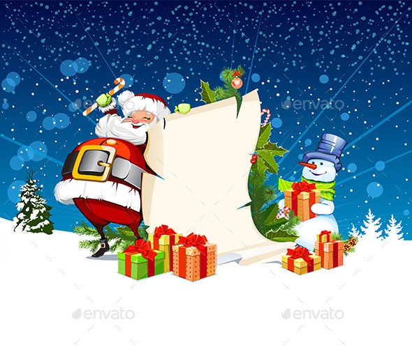 GraphicRiver Santa Claus and Snowman 9400783
