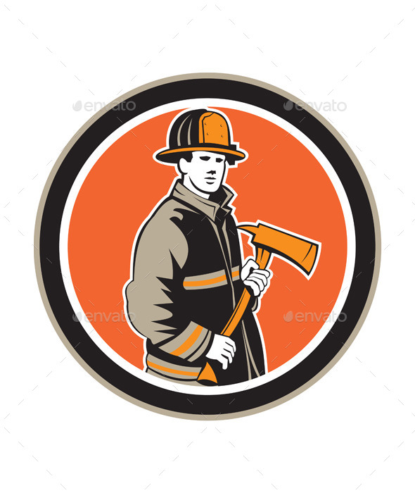 GraphicRiver Firefighter Holding Fire Axe Circle 9400882