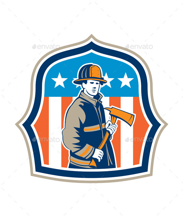 GraphicRiver American Firefighter Fire Axe Shield 9400885
