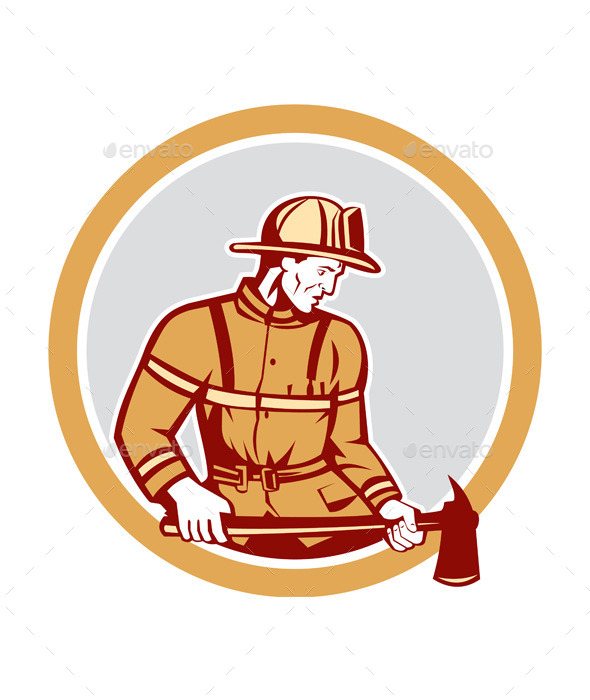 GraphicRiver Firefighter Holding Fire Axe Circle 9400889