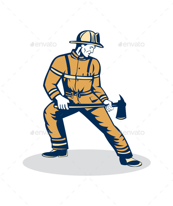 GraphicRiver Firefighter Standing Holding Fire Axe 9400890
