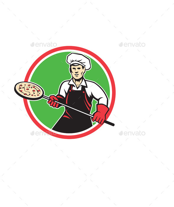 GraphicRiver Pizza Maker Holding Peel Circle Retro 9400895