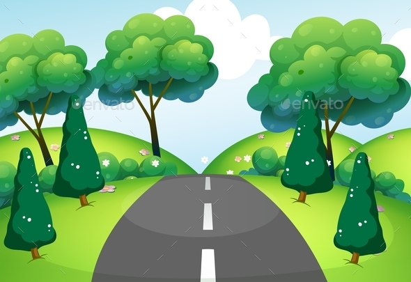 GraphicRiver Road Passing Through the Hills 9400896