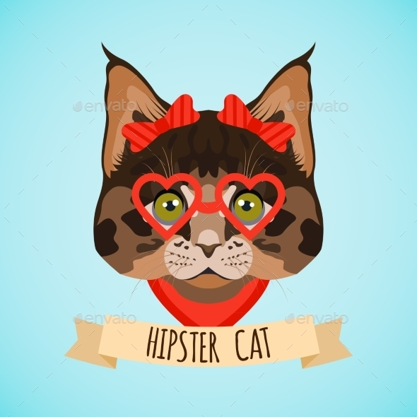 GraphicRiver Hipster Cat Portrait 9401214