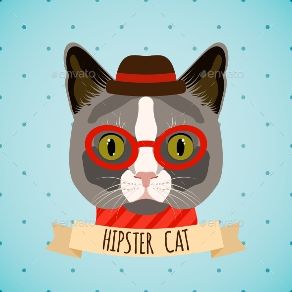 GraphicRiver Hipster Cat Portrait 9401217