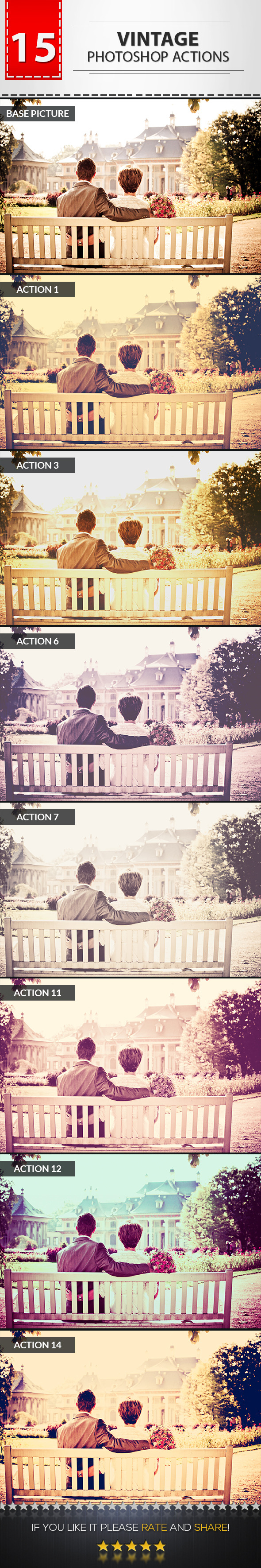 GraphicRiver 15 Vintage Photoshop Actions 9401942