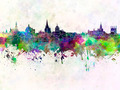 Oxford skyline in watercolor background - PhotoDune Item for Sale