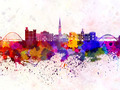 Newcastle skyline in watercolor background - PhotoDune Item for Sale