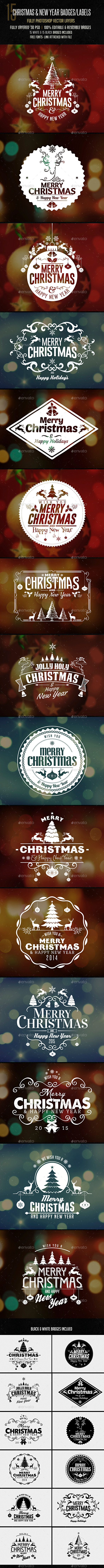 GraphicRiver Christmas & New Year Badges Sticker 9402020