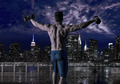 gym man rising hex dumbbells in New York city - PhotoDune Item for Sale