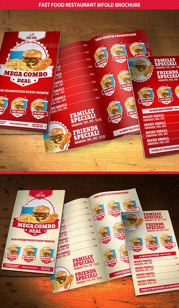 GraphicRiver Restaurant Fast Food Menu Bifold Brochure 9404617