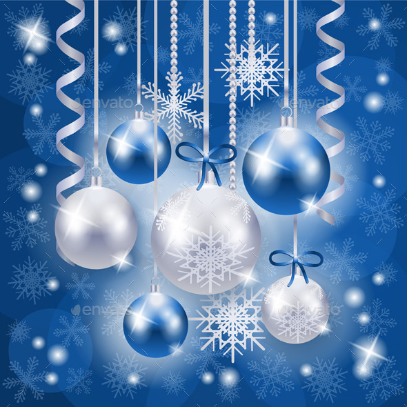 GraphicRiver Christmas Background in Blue on Snow Texture 9405275