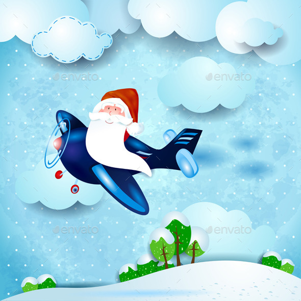 GraphicRiver Santa Claus on an Airplane 9405373