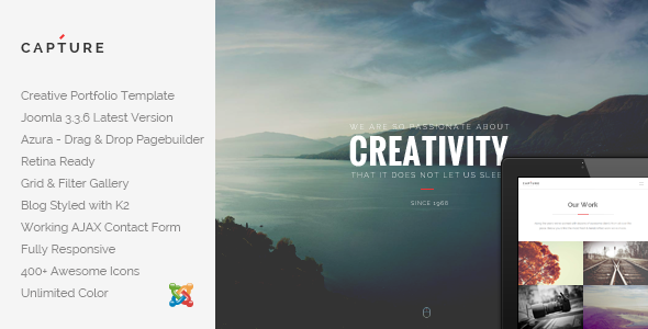 ThemeForest Capture Creative Portfolio Joomla Template 9405405