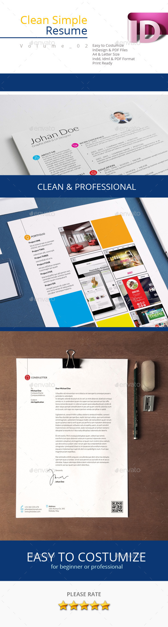 GraphicRiver Clean Simple Resume V.02 9405418