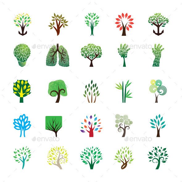 GraphicRiver Tree Icon Set 9405717