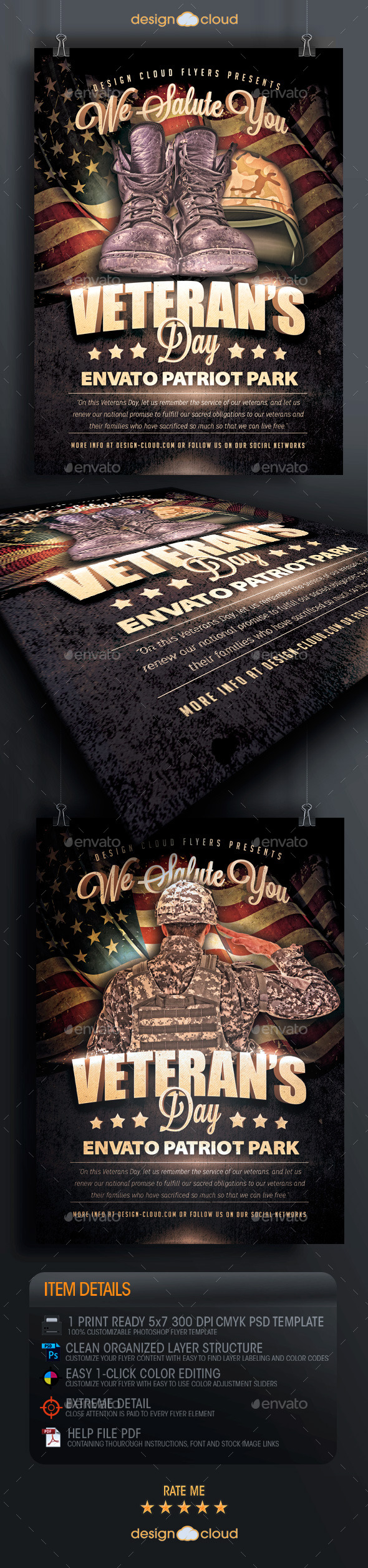 GraphicRiver Veteran s Day Salute Flyer Template 9405856