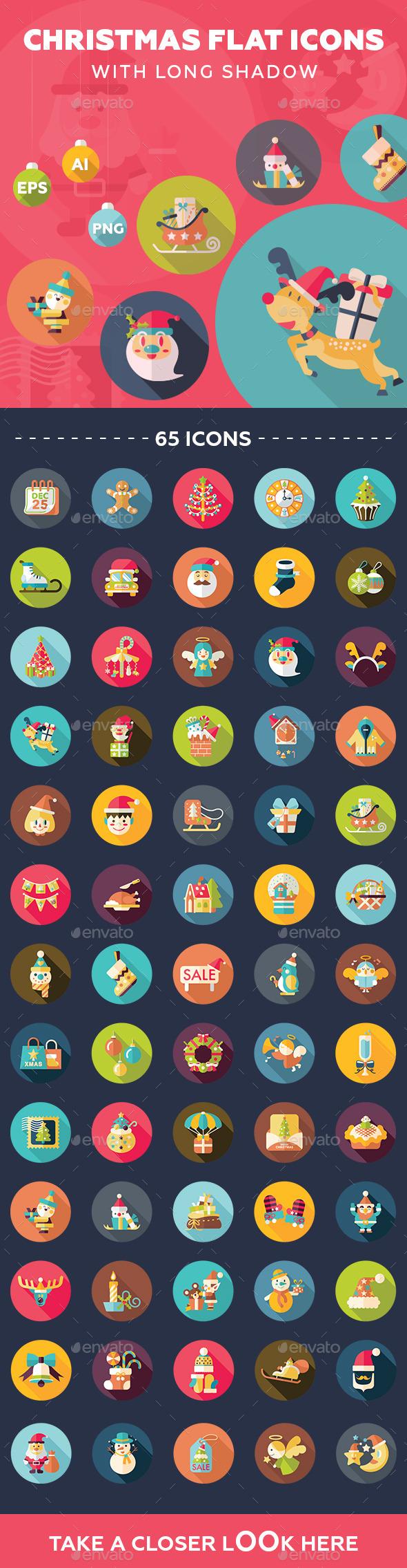 GraphicRiver 65 Christmas Flat Icons 9406228