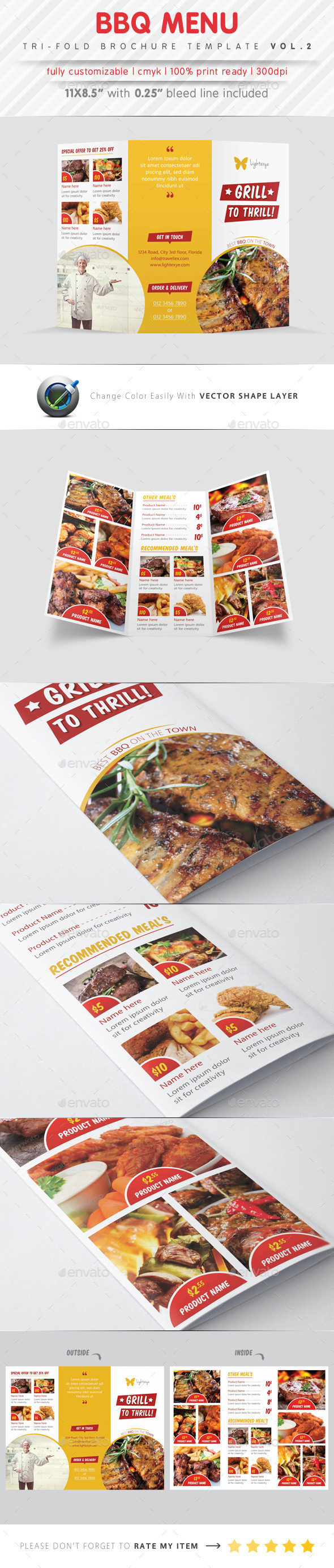 GraphicRiver BBQ Menu Tri Fold Template 9406235