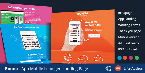 ThemeForest Bonna Mobile App Landing Template 9406342