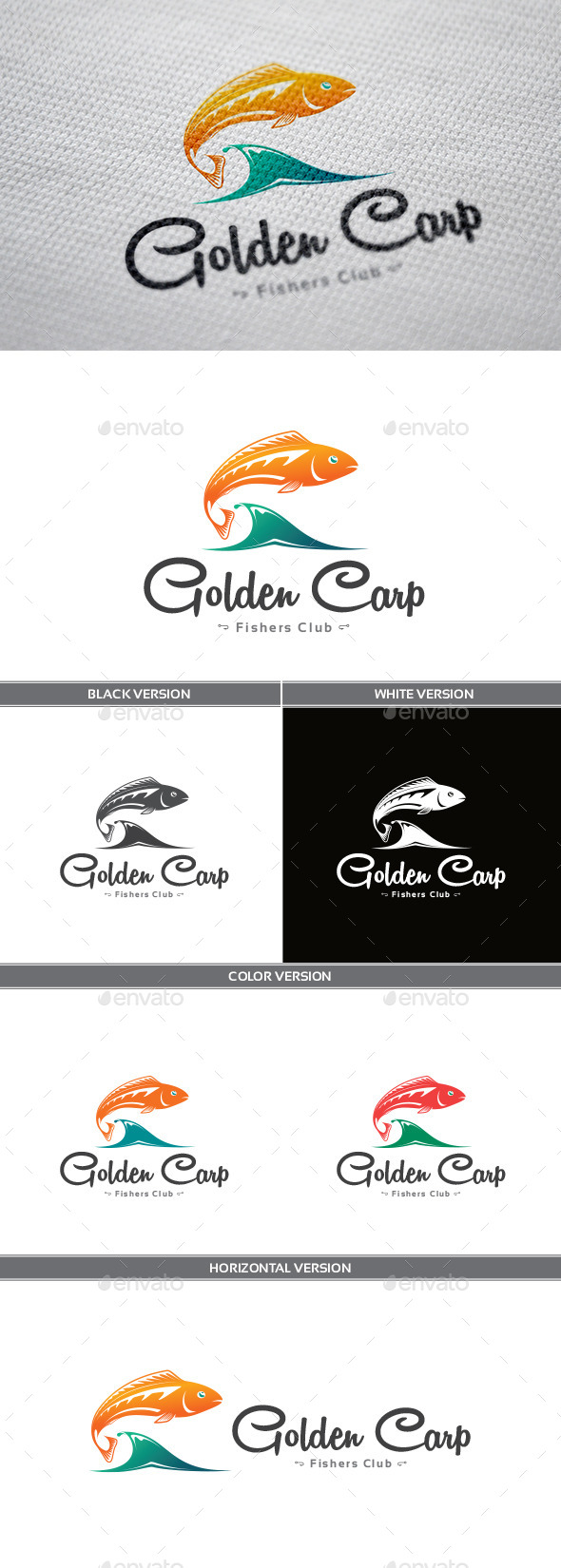 GraphicRiver Golden Carp Logo 9406498
