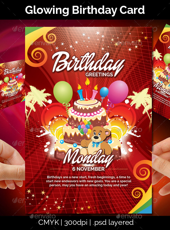 GraphicRiver Glowing Birthday Card 9356824