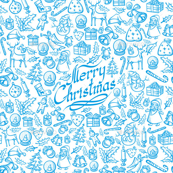 GraphicRiver Seamless Christmas and New Year Card 9406536
