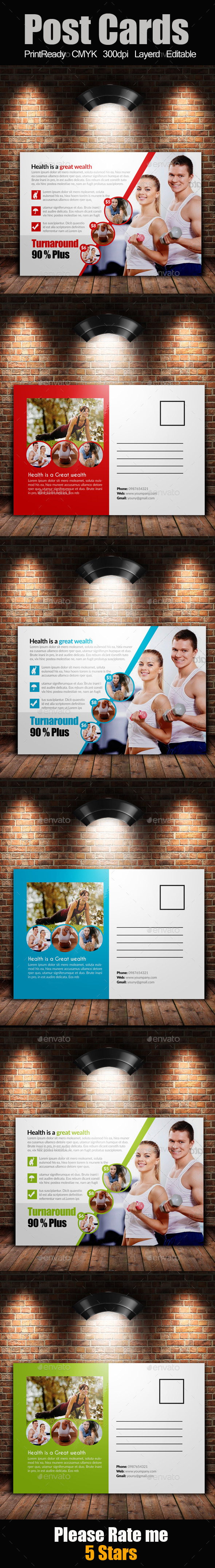 GraphicRiver Fitness Postcards 9406590