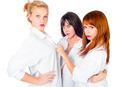 Three young beautiful women in white shirt?. Isolated over white - PhotoDune Item for Sale