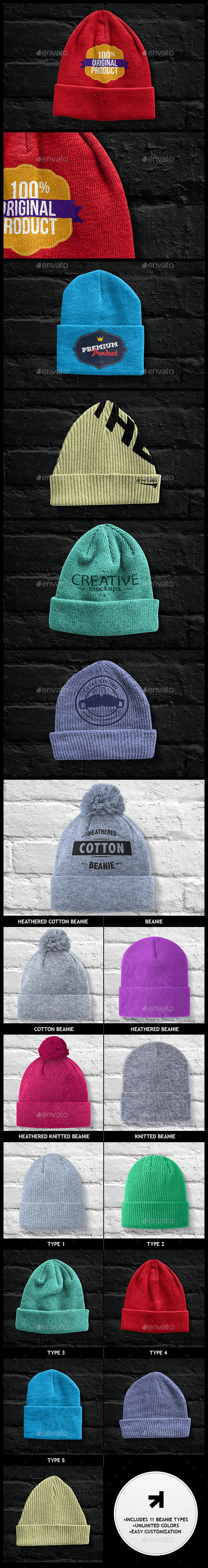 GraphicRiver Beanies Pack Mock Up 9358609