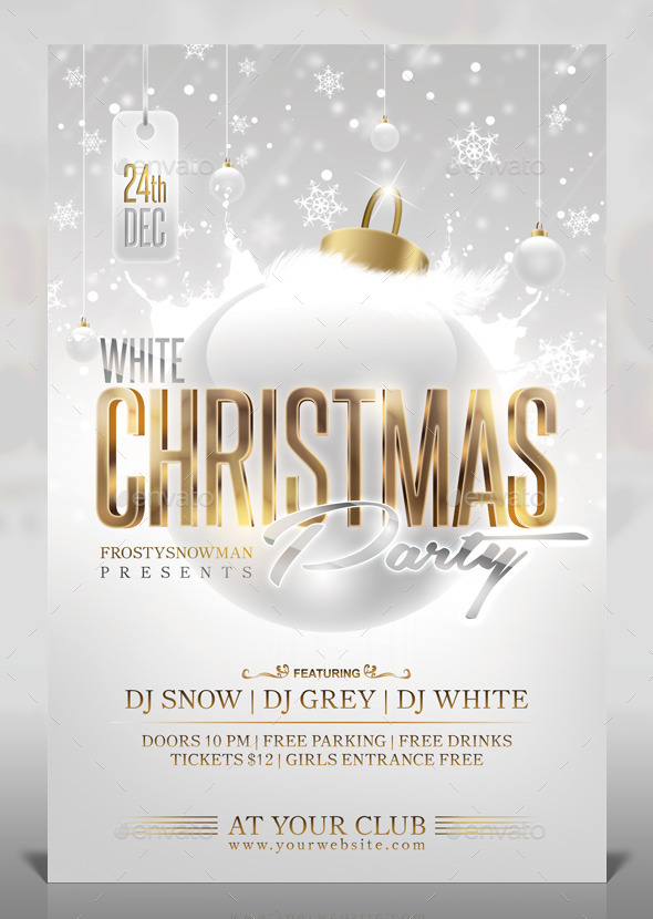 GraphicRiver White Christmas Party Flyer 9407849