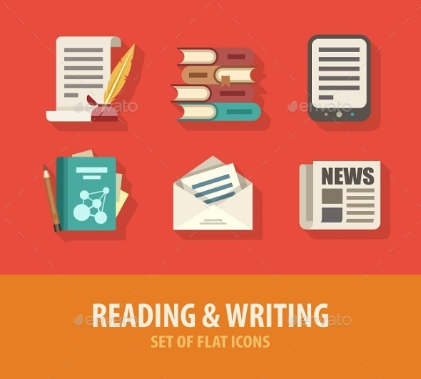 GraphicRiver Literature Reading and Writing Set of Flat Icons 9407878