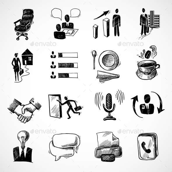 GraphicRiver Office Sketch Icons Set 9407887