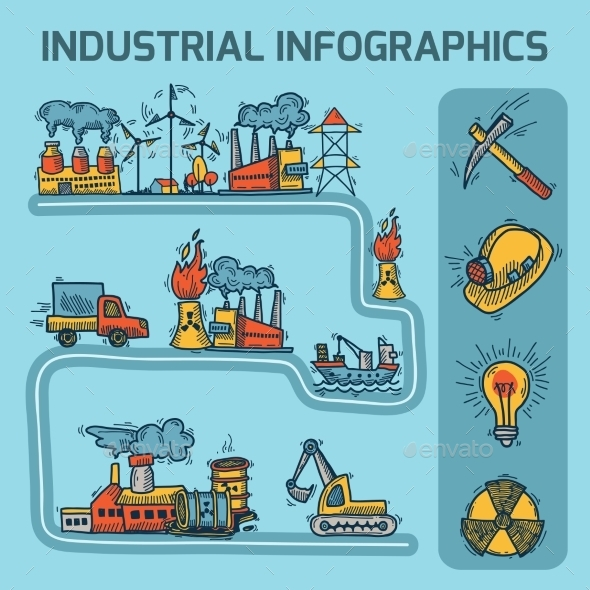 GraphicRiver Industrial Sketch Infographic Set 9407895