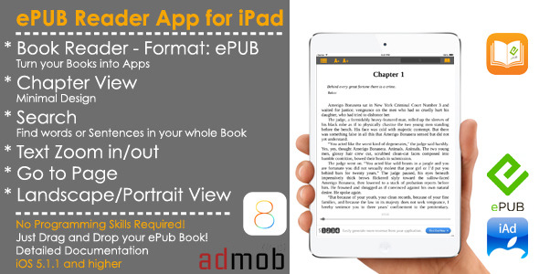 eBook - ePub Reader Full iOS Template + Admob/iAd - CodeCanyon Item for Sale