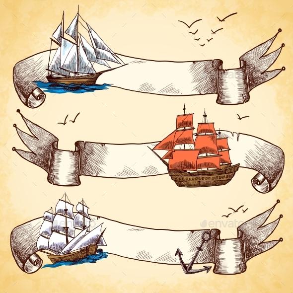 GraphicRiver Nautical Banners Set 9407911