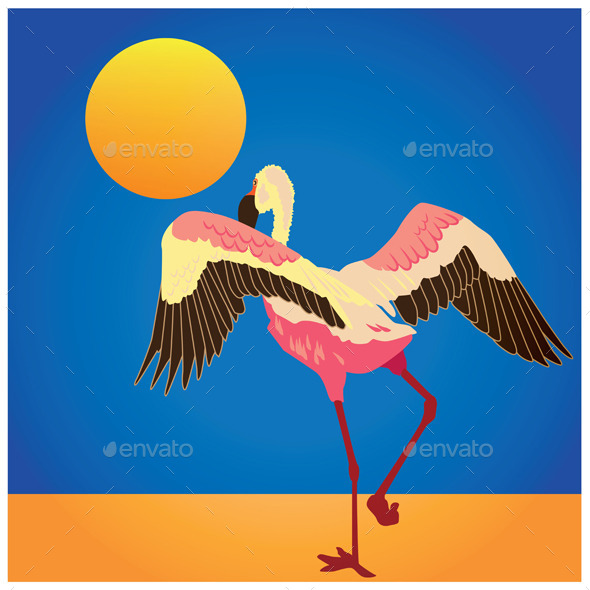 GraphicRiver Flamingo on the Shore 9407973