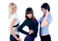 Three beautiful young women in studio over white background - PhotoDune Item for Sale