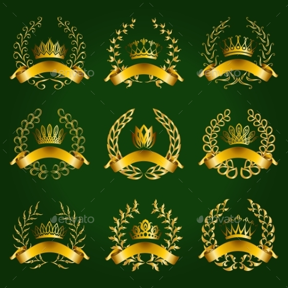 GraphicRiver Luxury Gold Labels with Laurel Wreath 9408460