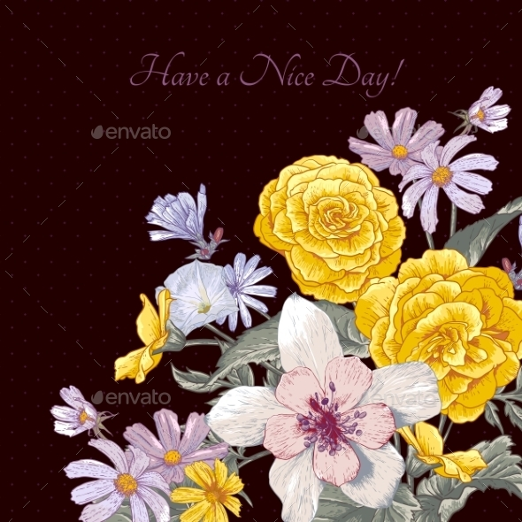 GraphicRiver Vintage Floral Bouquet Botanical Greeting Card 9408757