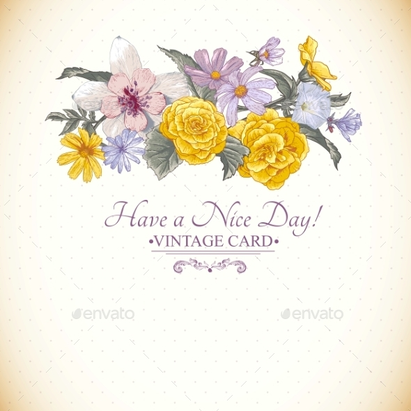 GraphicRiver Vintage Floral Bouquet Botanical Greeting Card 9408765