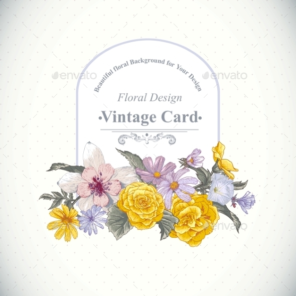 GraphicRiver Vintage Floral Bouquet Botanical Greeting Card 9408771
