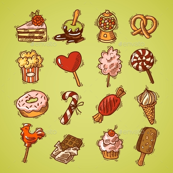 GraphicRiver Sweets Sketch Icon Set Color 9408895