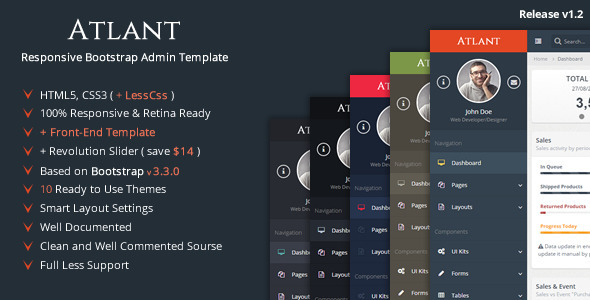 ThemeForest Atlant Bootstrap Admin Template with Frontend 9217590