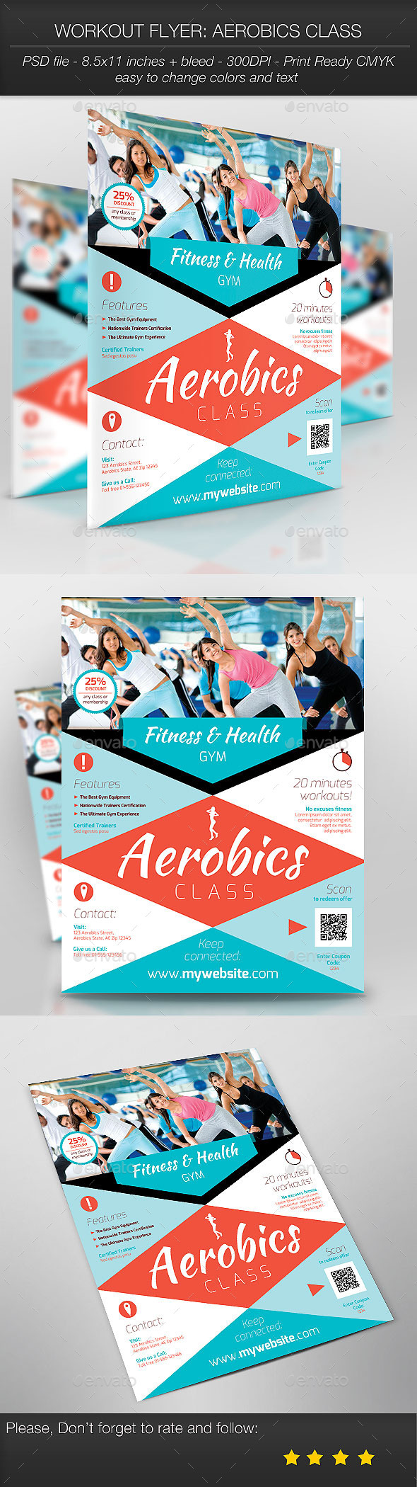 GraphicRiver Workout Flyer Aerobics Class 9409277