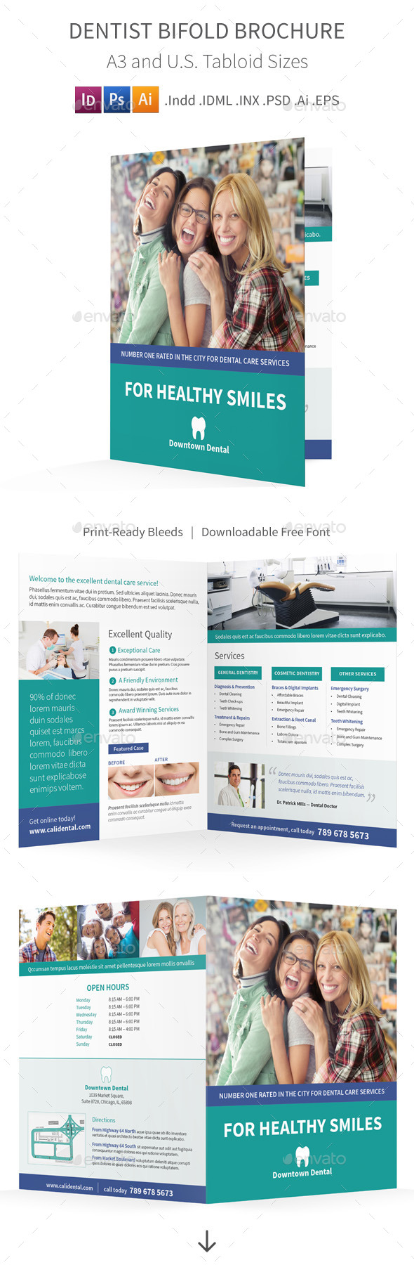 Dentist Bifold Halffold Brochure