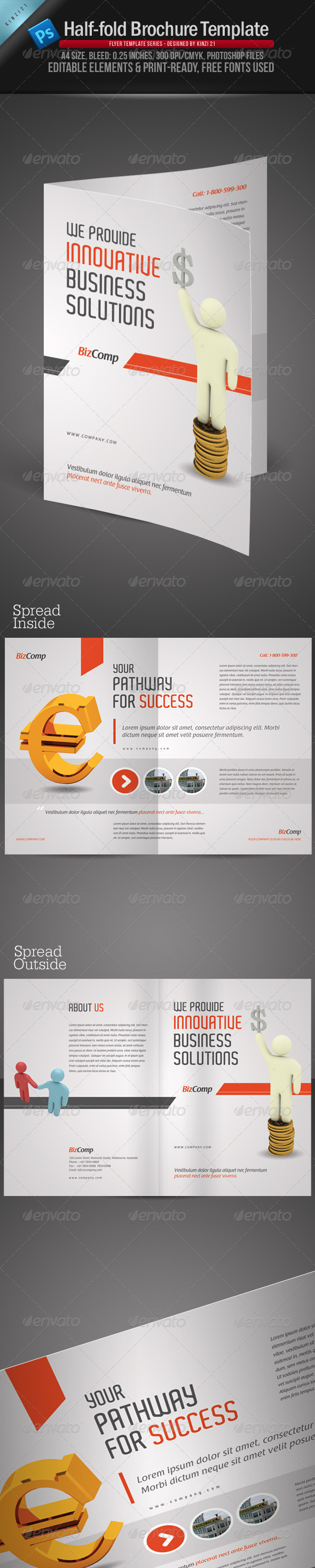 GraphicRiver A4 Half Fold Brochure Template 958220