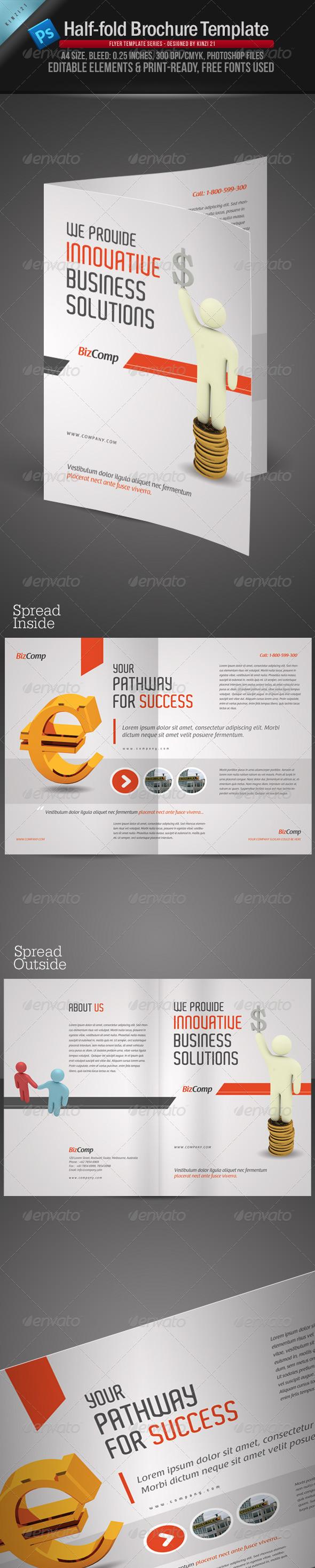 2 fold brochure template photoshop - a4 half fold brochure template graphicriver